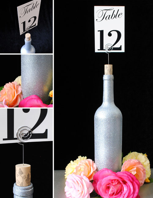 Wine bottle table number holder and close ups