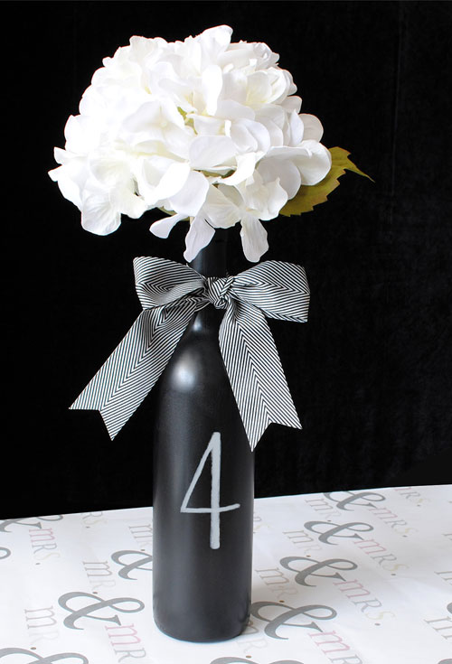 Chalk paint wine bottle table number