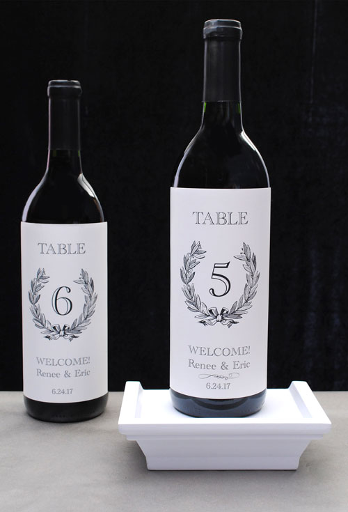 Table number labels for a wedding