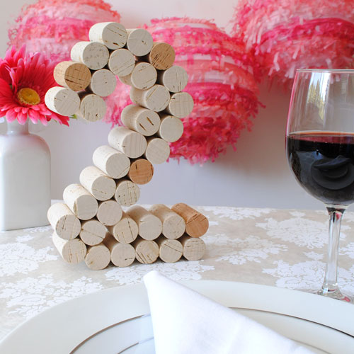 Table number made of wine corks