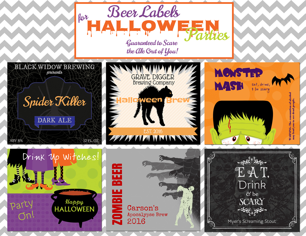 Halloween Beer Labels; Black Widow Brewing, Grave Digger, Monster Mash, Drink Up Witches, Zombie Beer, Eat, Drink, Be Scary