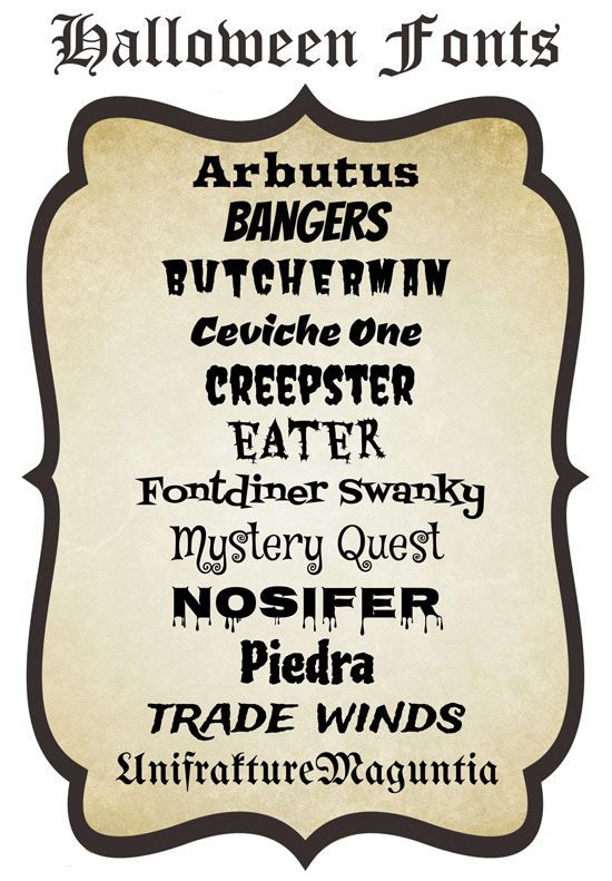 Halloween Fonts to scare up some potent potions