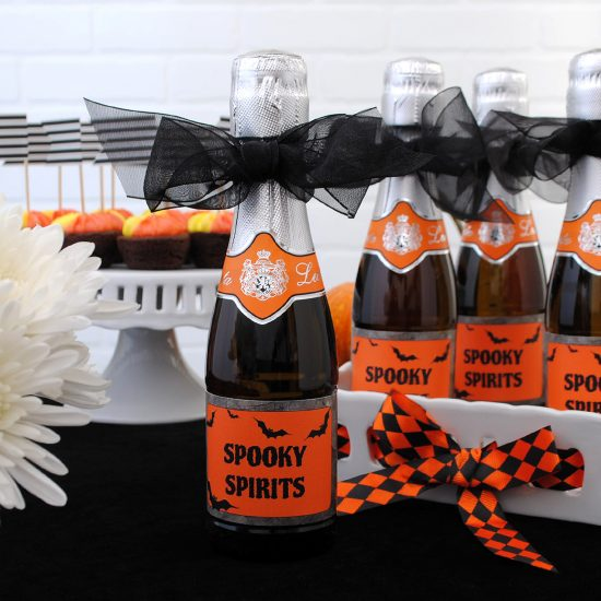 Halloween mini Champagne labels