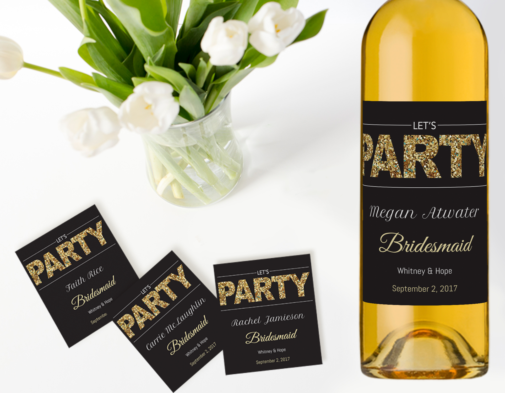 Custom wine labels for bridesmaid