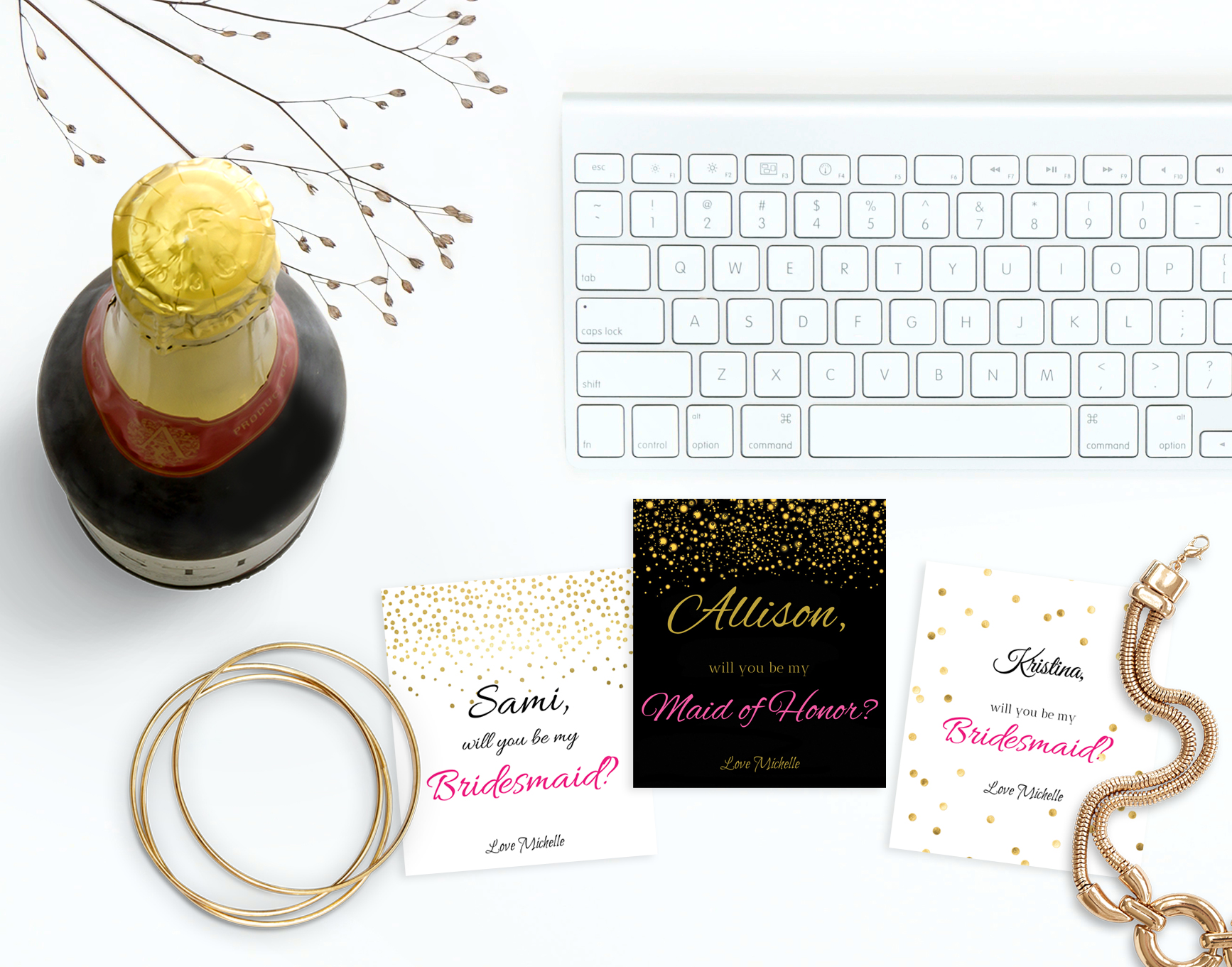 Champagne label for asking your bridesmaid to be in your wedding