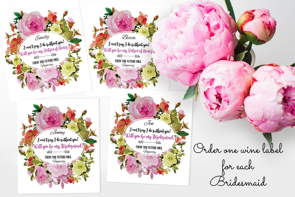Bridesmaid wine labels, one for each bridesmaid