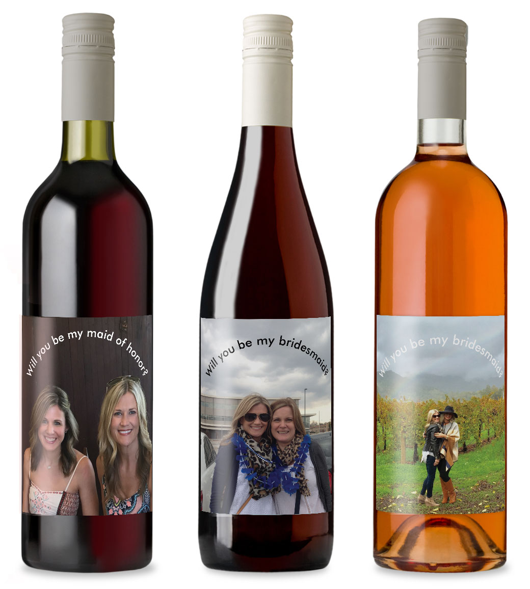 Photo wine labels for bridesmaids