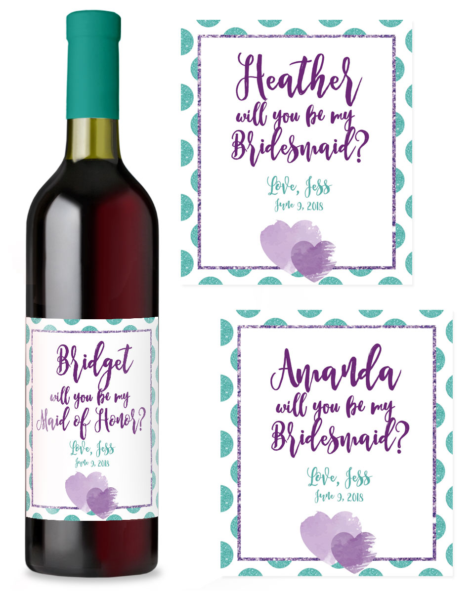 Make a bridesmaid wine label by uploading your own label art