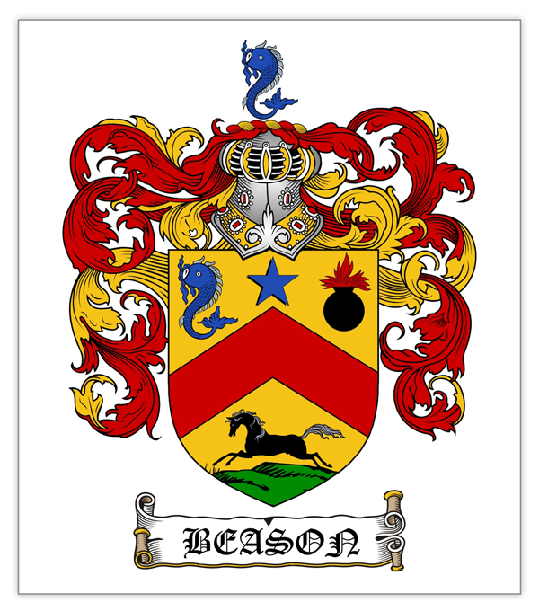Example coat of arms for family reunion drink labels