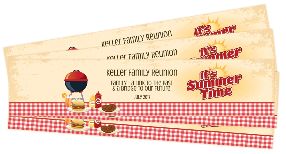 Water bottle labels for a family reunion