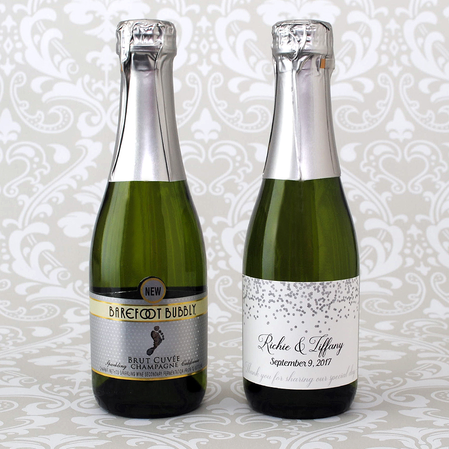 Barefoot Bubbly 187 Ml Shown With 3 X 2 Size Mini Champagne Label