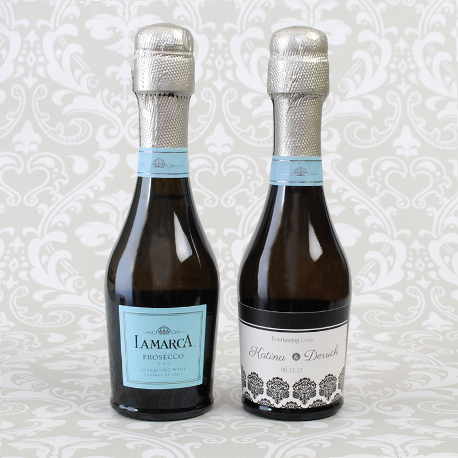 Lamarca 187 Ml With A 3 Inch Wide By 2 High Mini Champagne Label