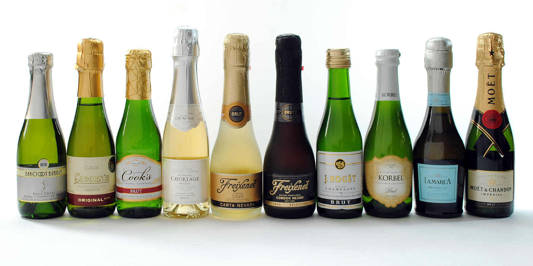 Ten Mini Champagne Bottles And Which Label Size To Choose