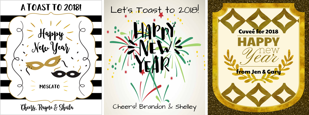 examples of new years eve wine label designs to customize for party favors or wine gifts