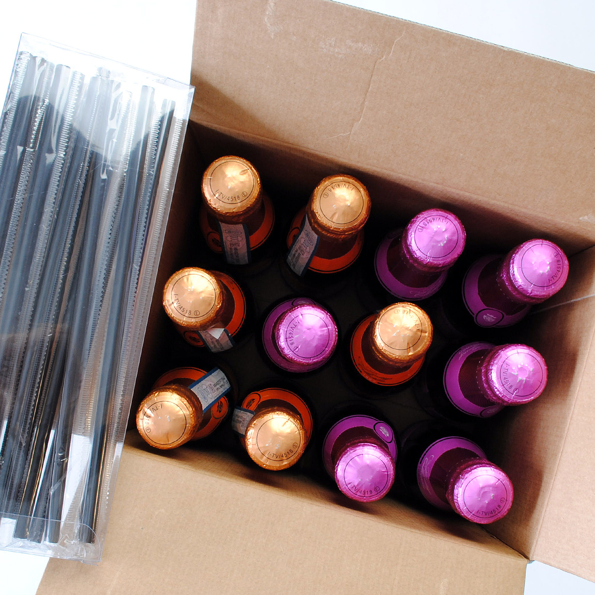 "The mini Champagne bottles in the ""Party in a Box""."