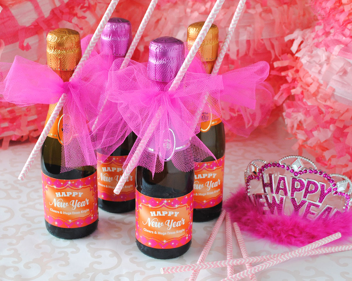 New Year's Eve party favor inspiration. Mini Champagne bottles personalize with your label.