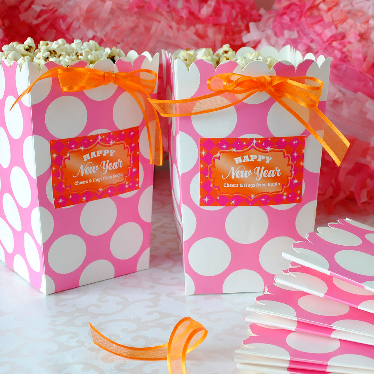 Custom party favor labels for popcorn boxes