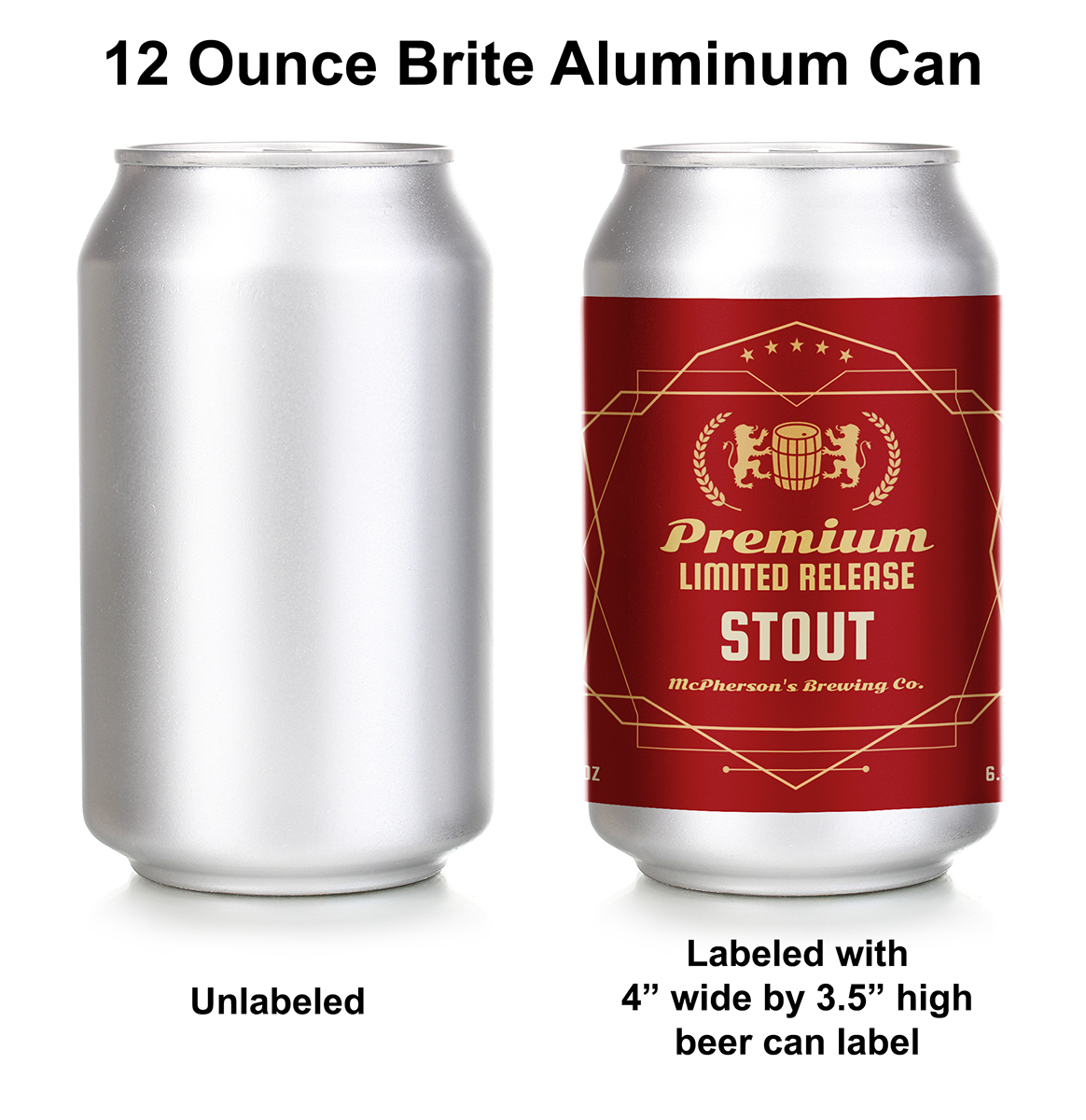 Custom beer can labels for 12 ounce cans.