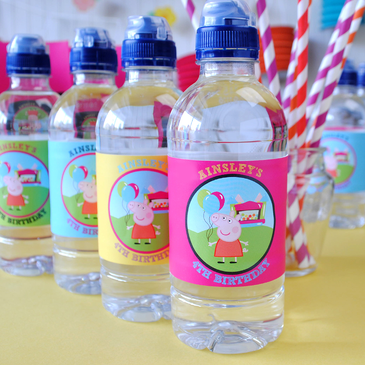 Peppa pig water bottle label. How to create a character theme birthday label like this.