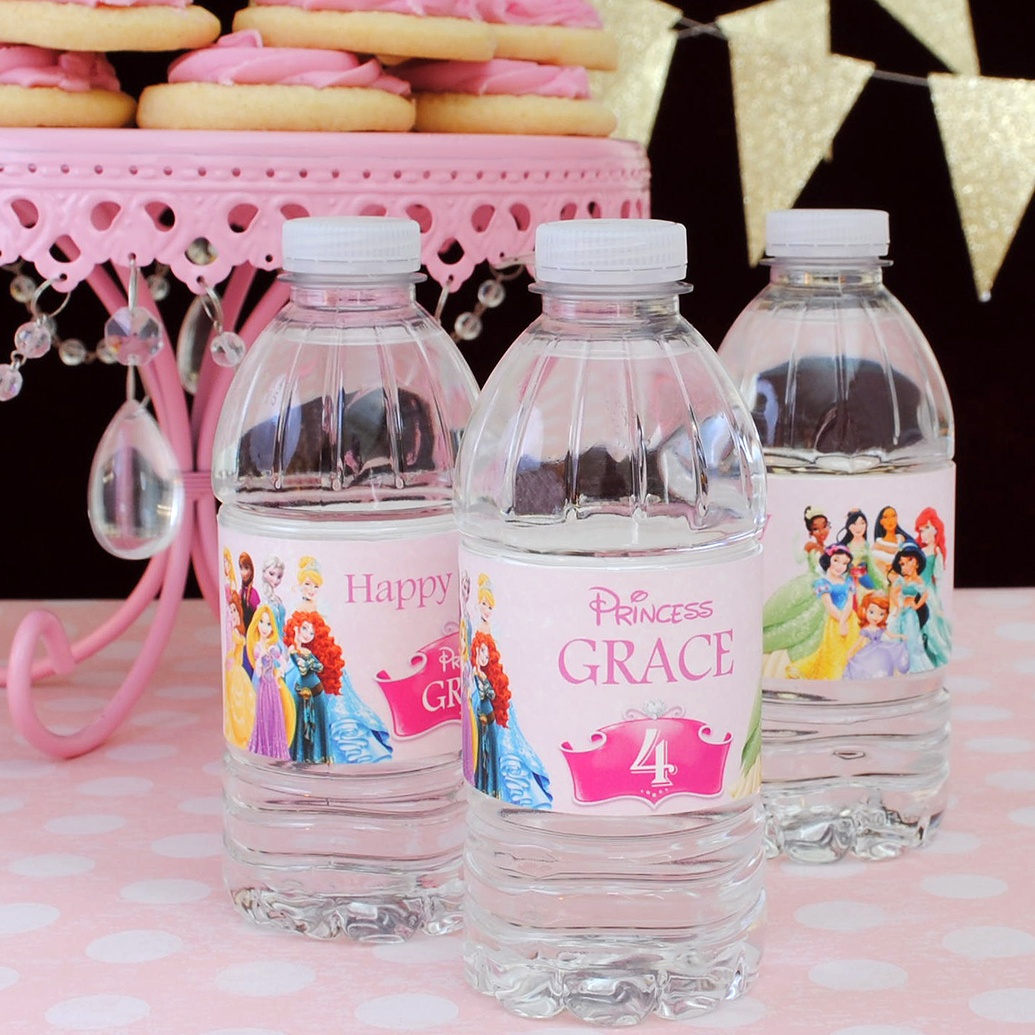 Disney Princess water bottle labels on a Kroger 10 ounce grape flavored bottle of water. This is BYB's 8.25 x 1.75 water bottle label size.