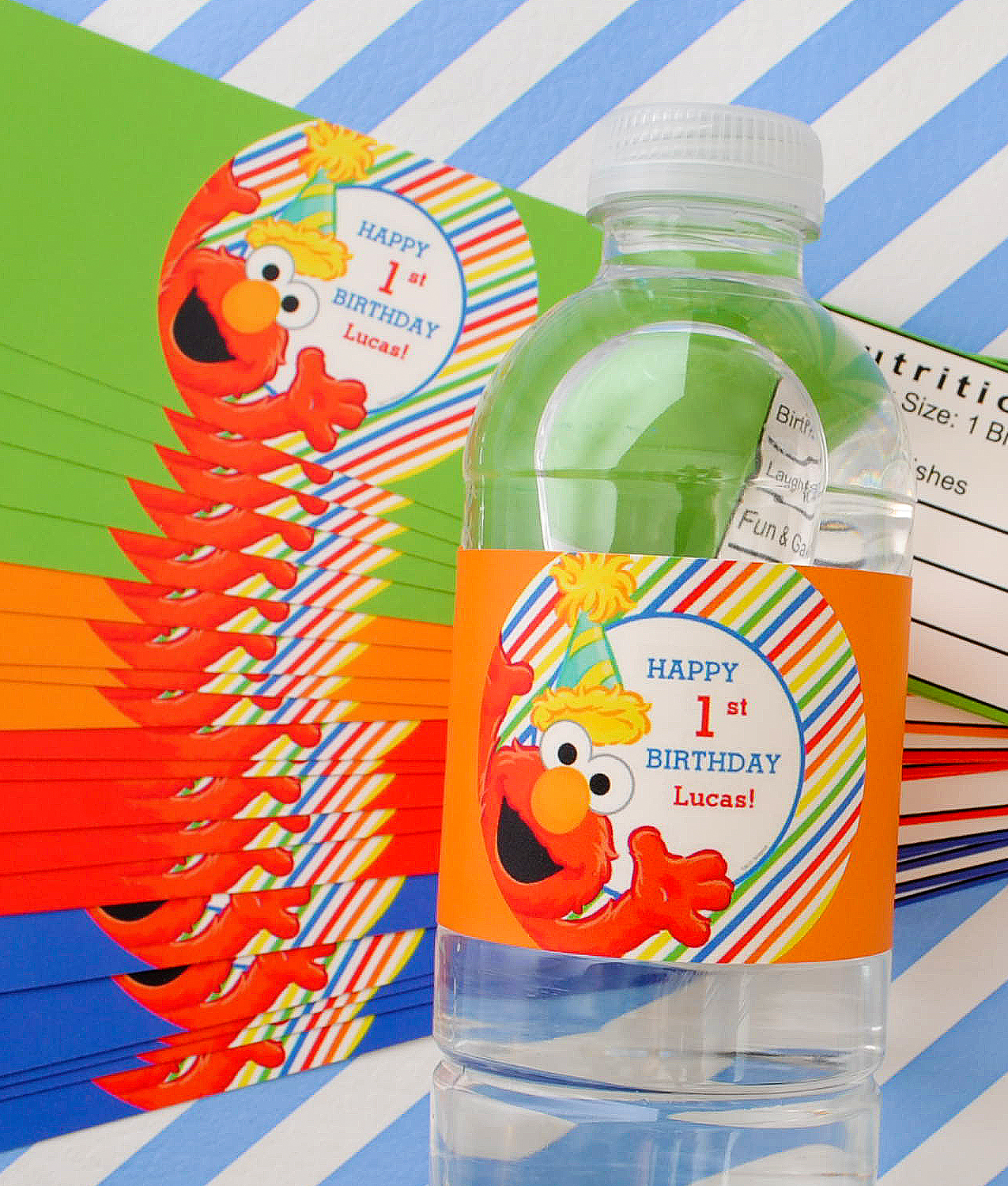 Elmo first birthday water bottle labels. These were created by a customer using the online design studio.