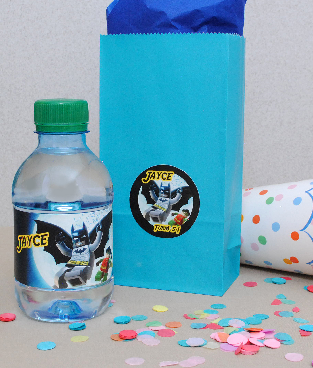 Lego Batman and Robin party favor stickers. Make your own birthday stickers using the character your child likes.