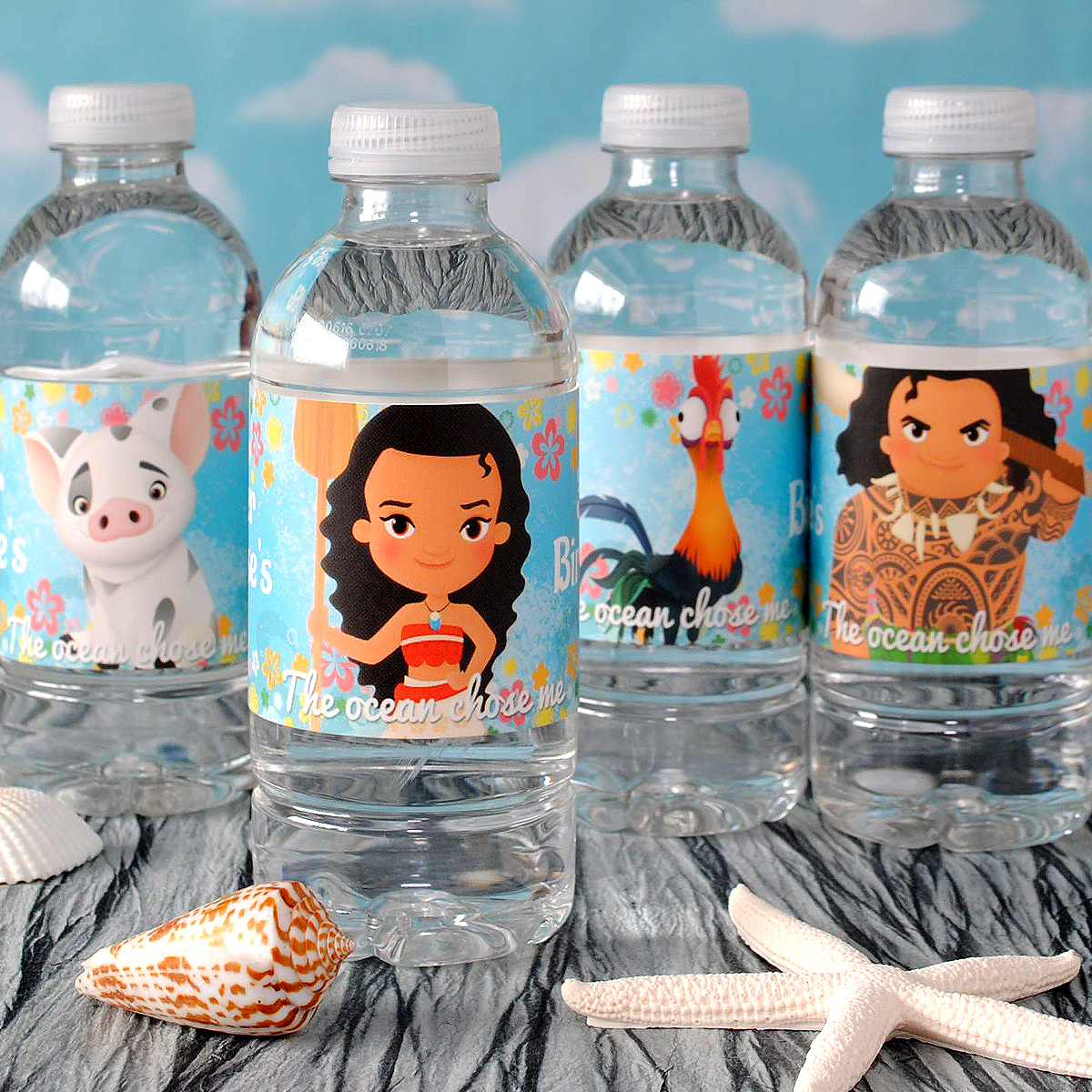 Make Moana water bottle labels using your own file.