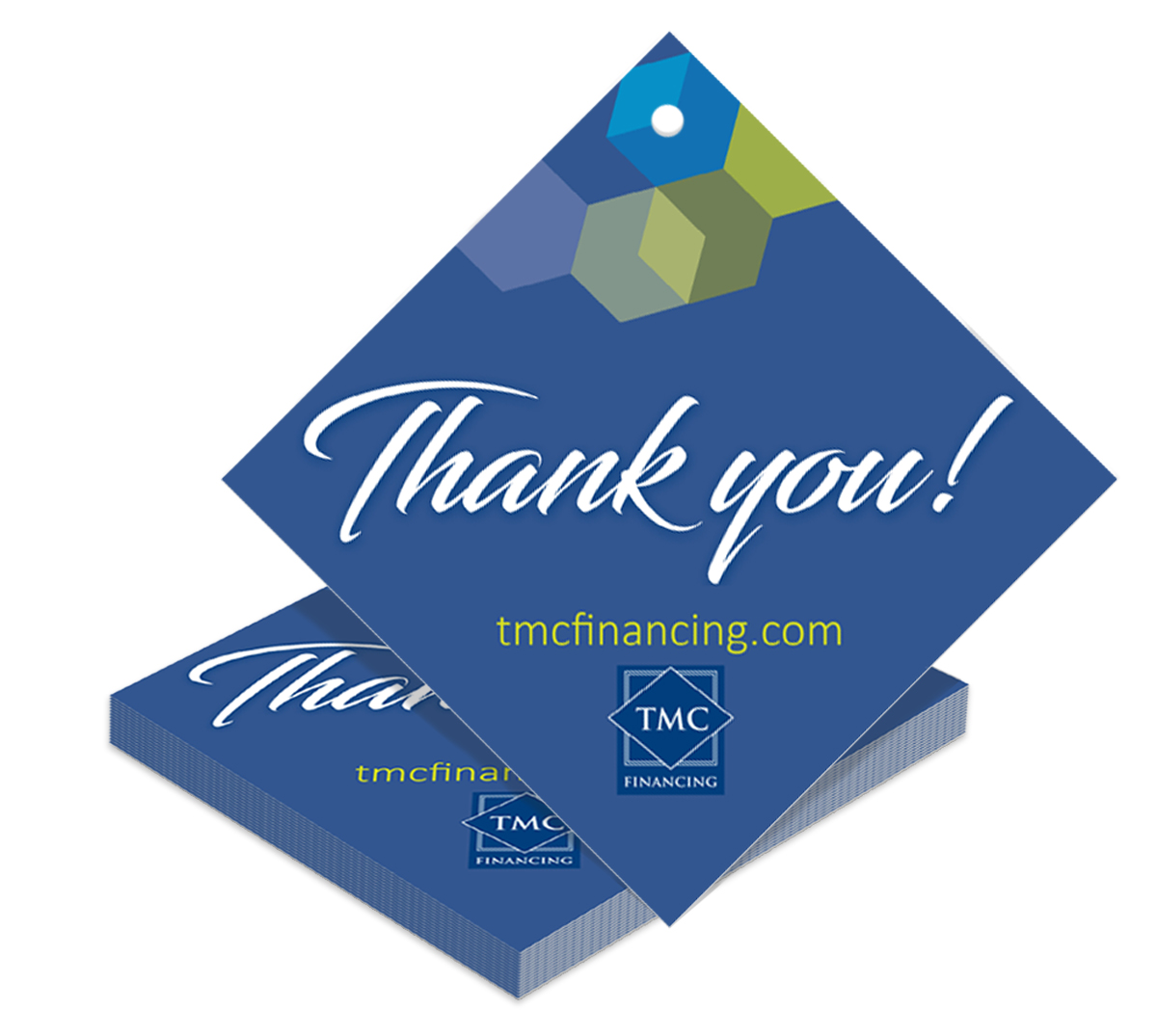 Custom hang tag with a message of thanks. Branded hang tags make perfect sense for promotional items.