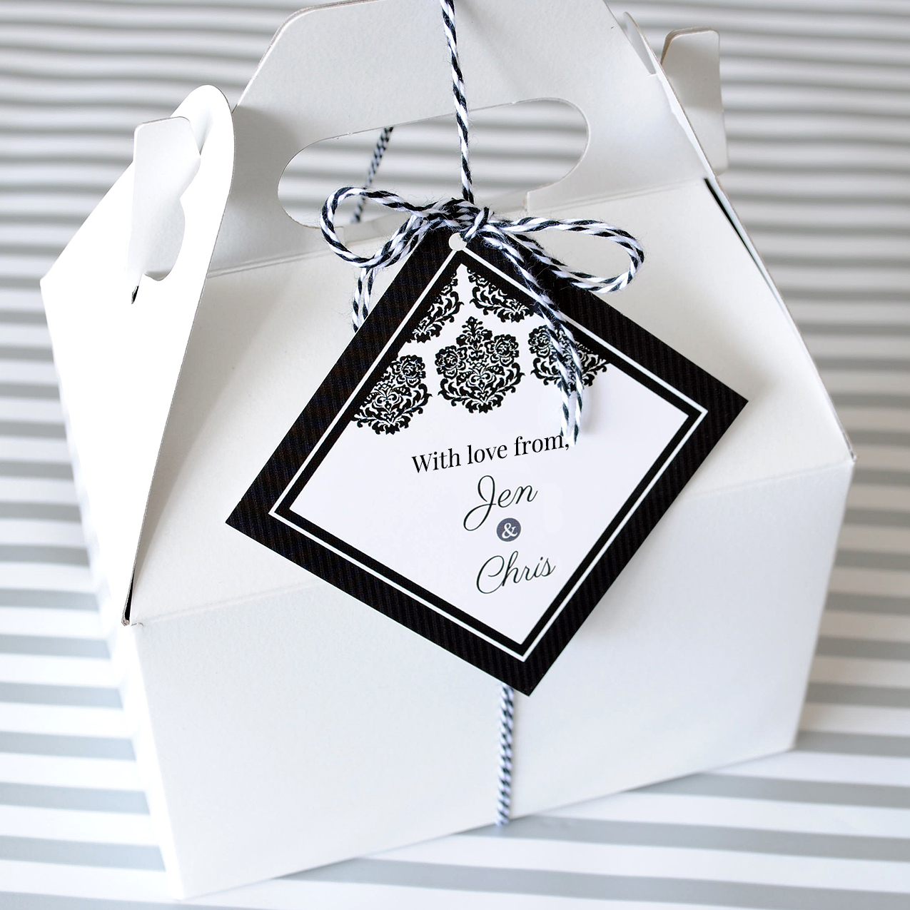 Custom hang tag created for a gift box. Make yours online using a pre-made template.