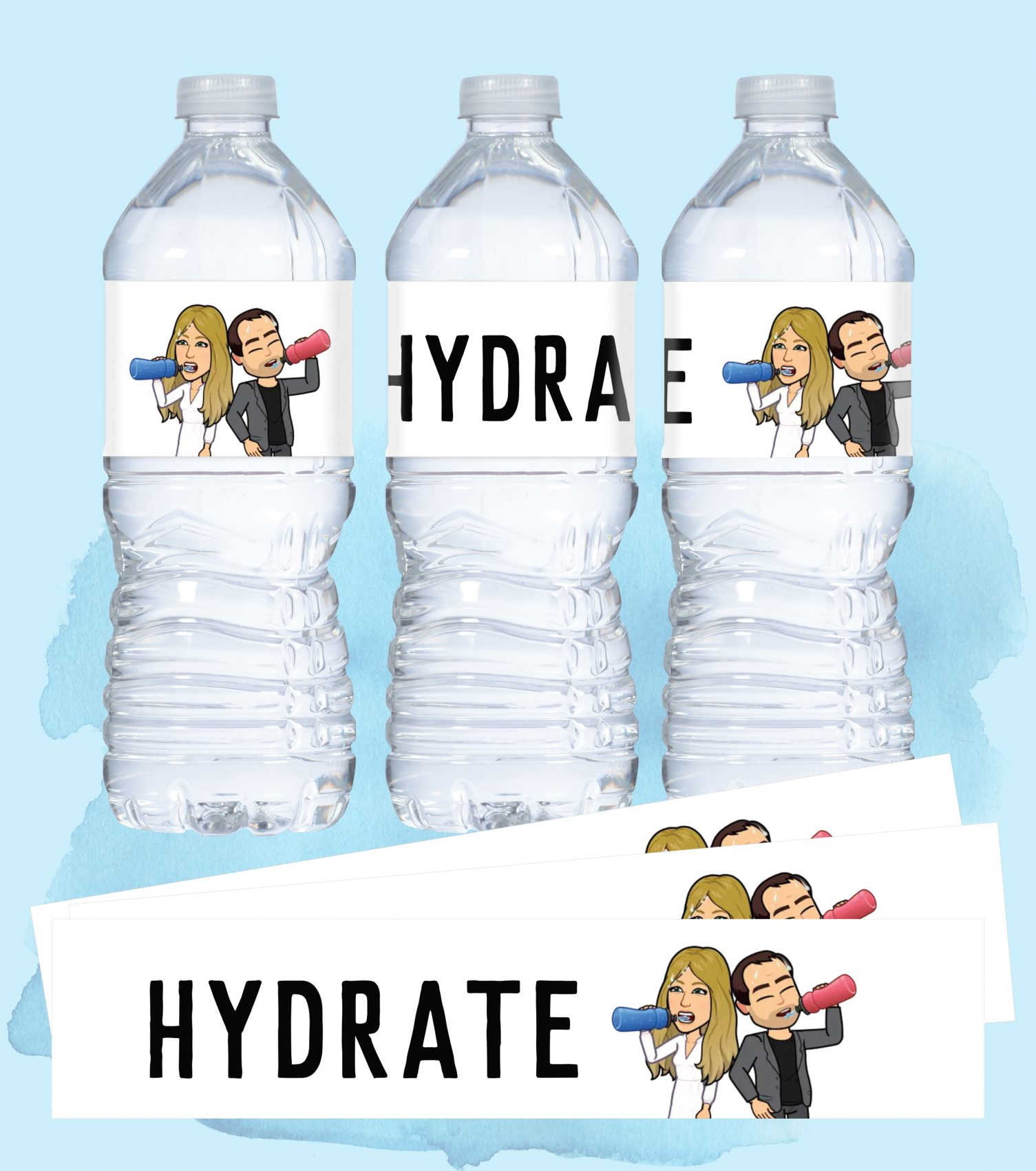 Caricature wedding couple on water bottle labels. Wedding water bottle labels are waterproof and self-adhesive.