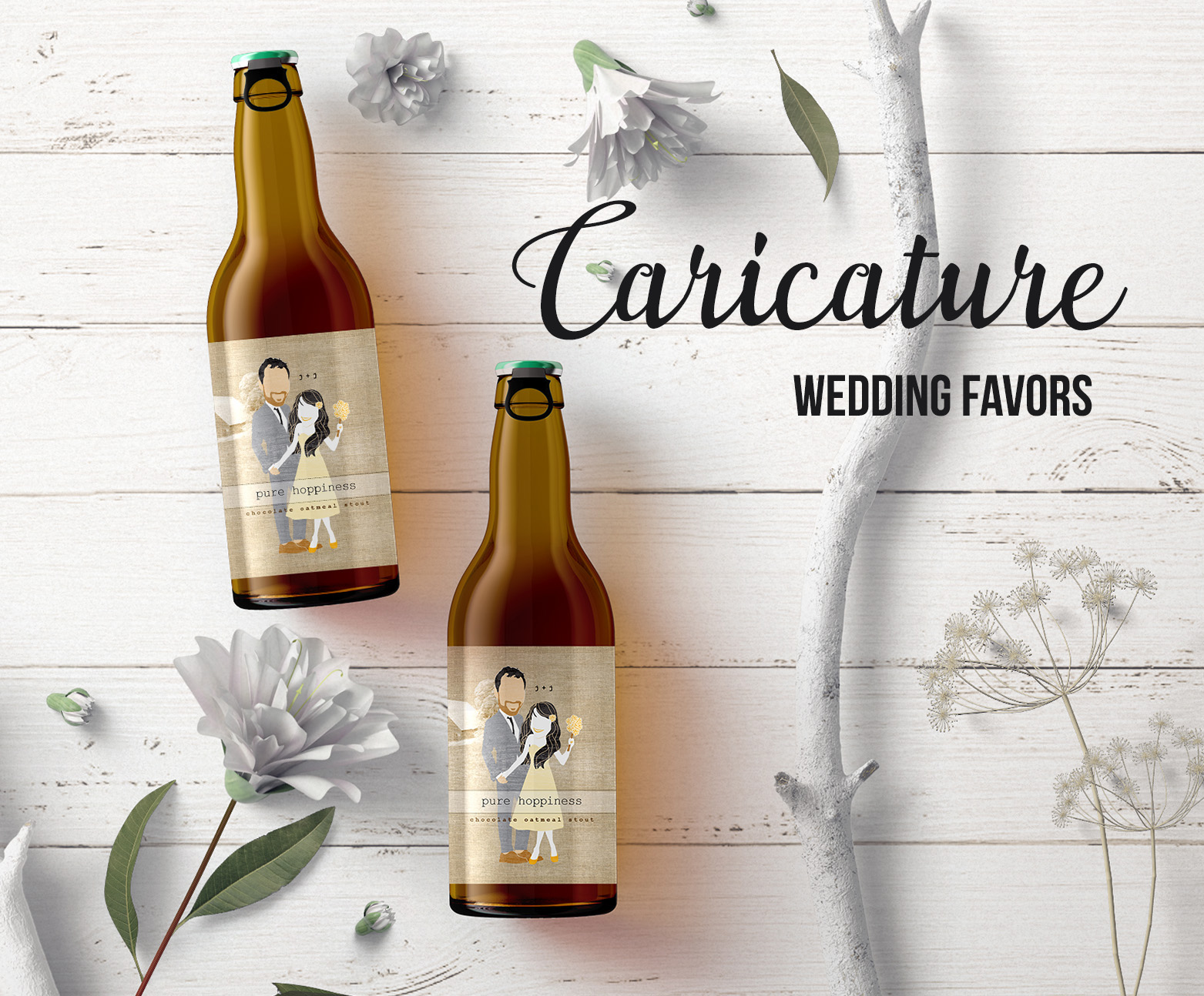Caricature art wedding favors. Make custom beer labels with your digital caricature.