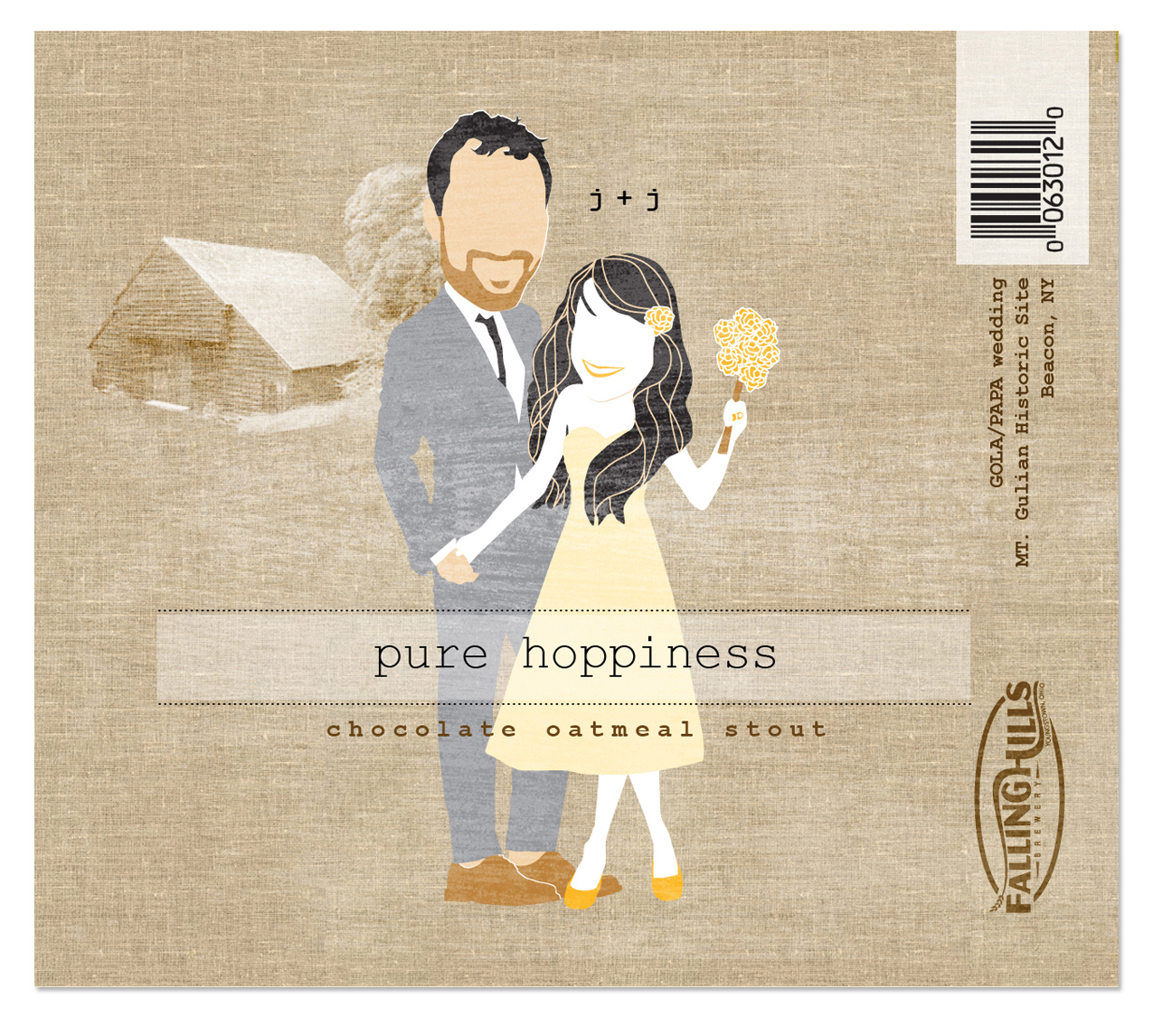 Wedding beer label made with a cartoon likeness of the bride and groom. Make your own caricature wedding favors for beer by uploading your artwork.