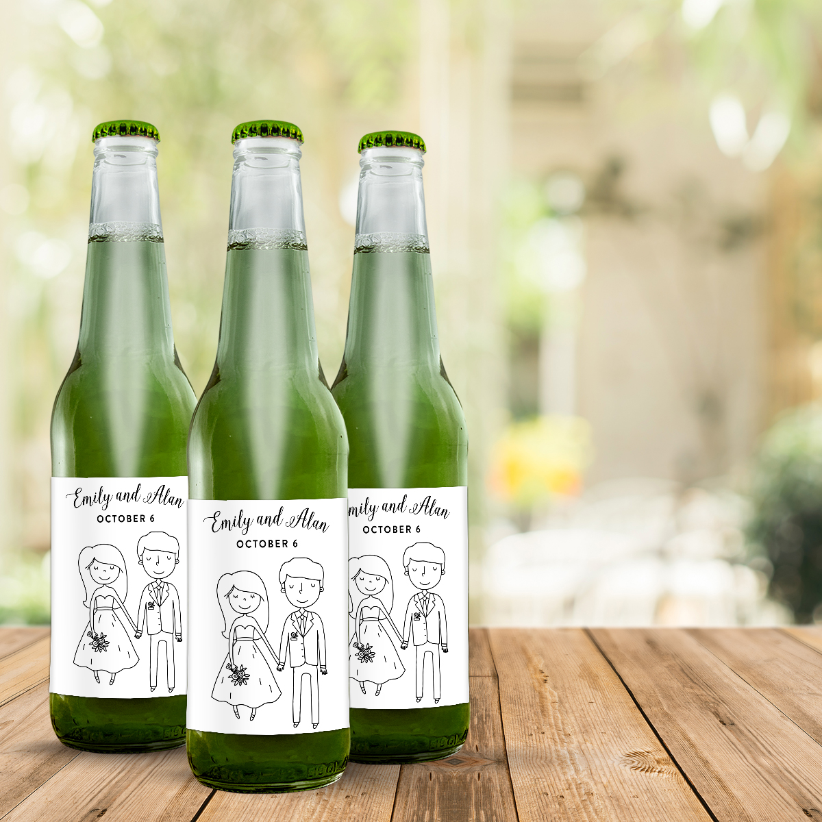 Cartoon wedding couple on soda labels make great wedding favors.