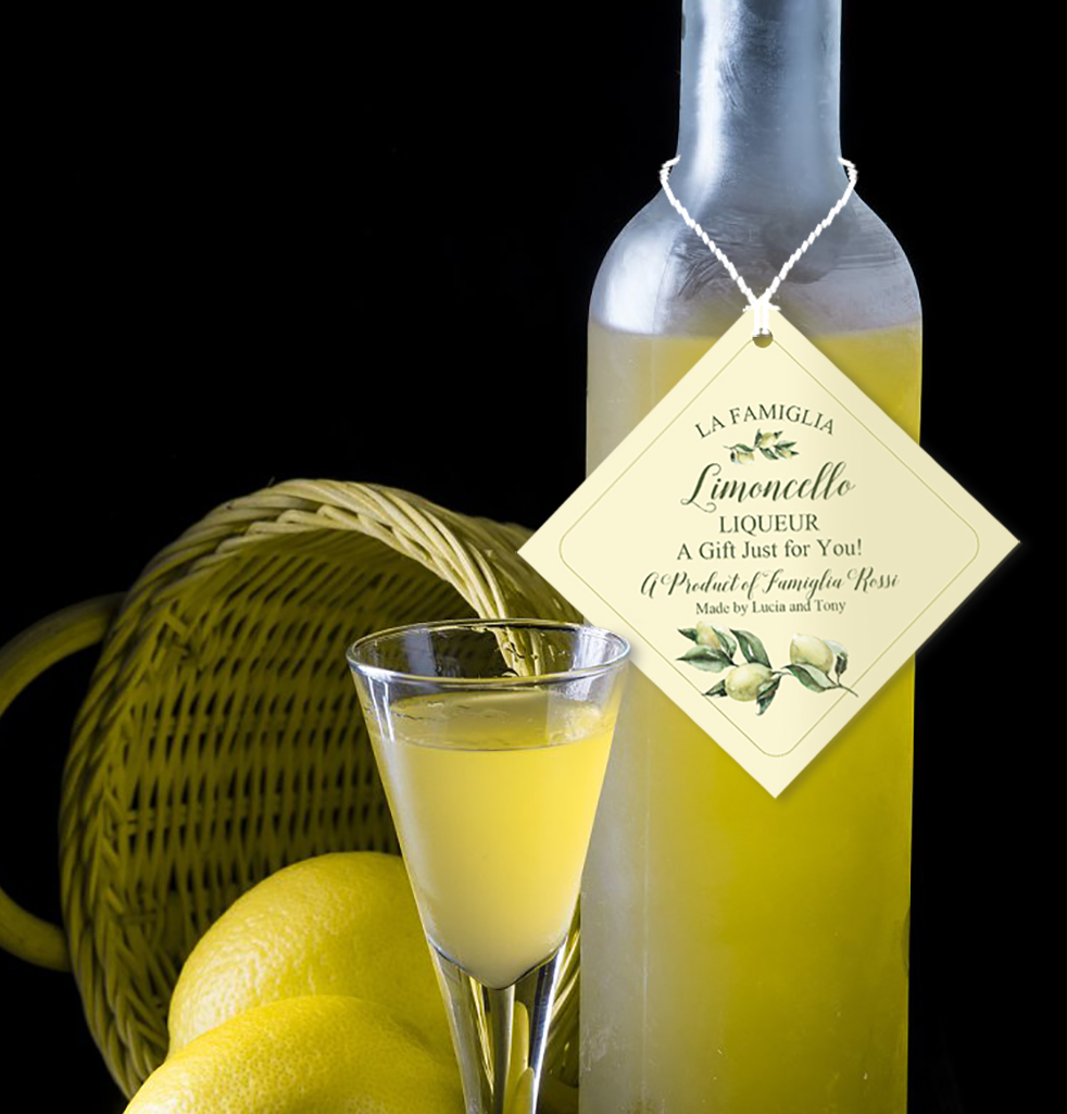 Custom limoncello hang tags start at under 10 dollars and make great inexpensive gifts for the holidays.