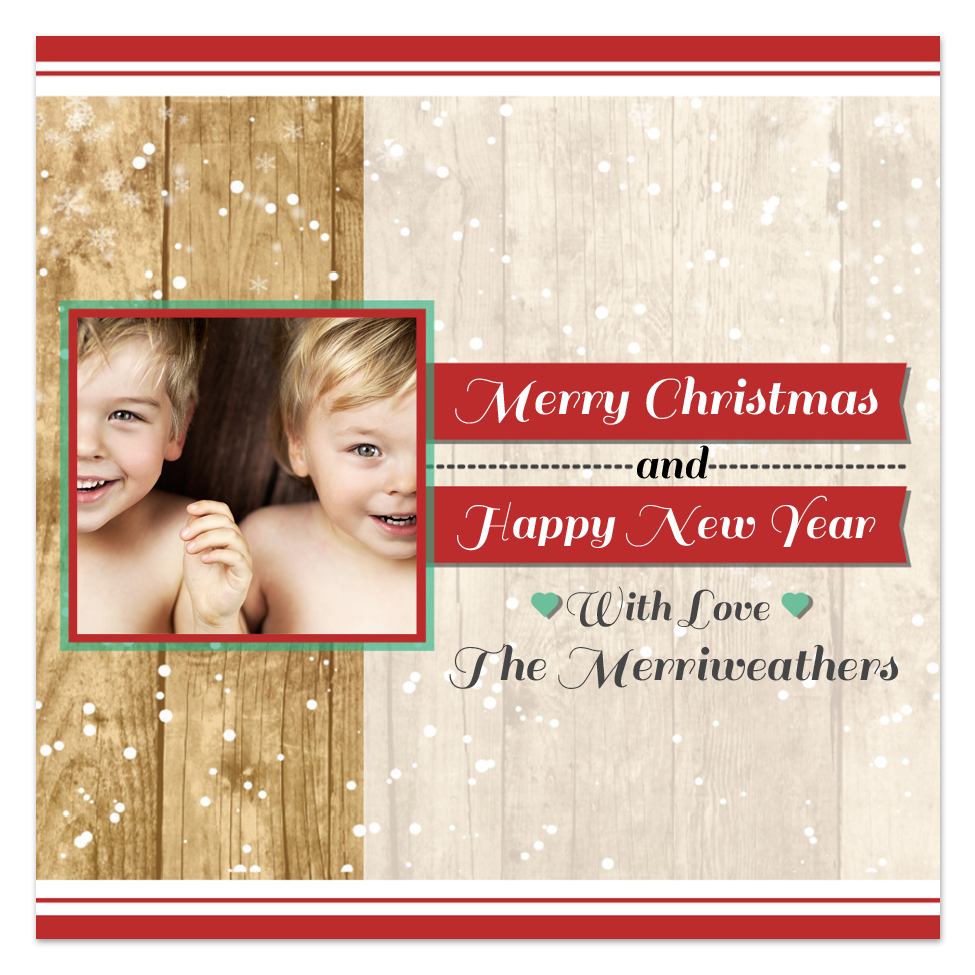 Holiday sticker with photo. Customize online with holiday style fonts.