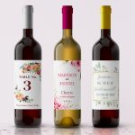Geometric theme wine labels for weddings and other events