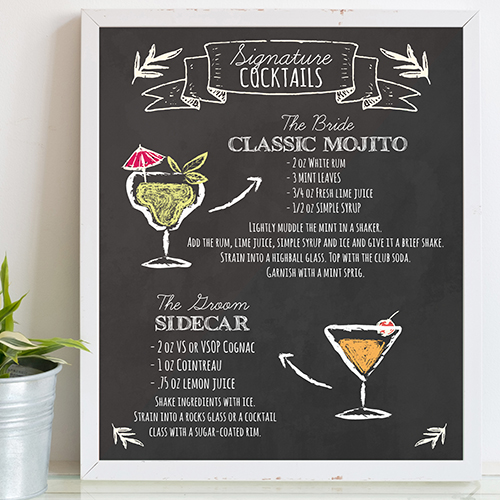 Custom chalkboard sign idea for couples wedding shower with a Stock the Bar theme.