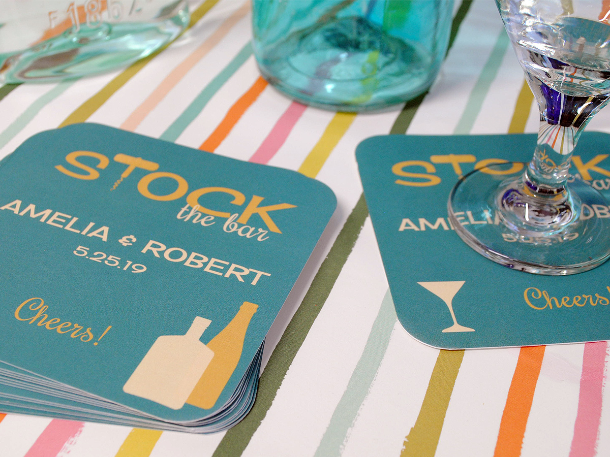Custom disposable drink coasters; made especially for the wedding shower.