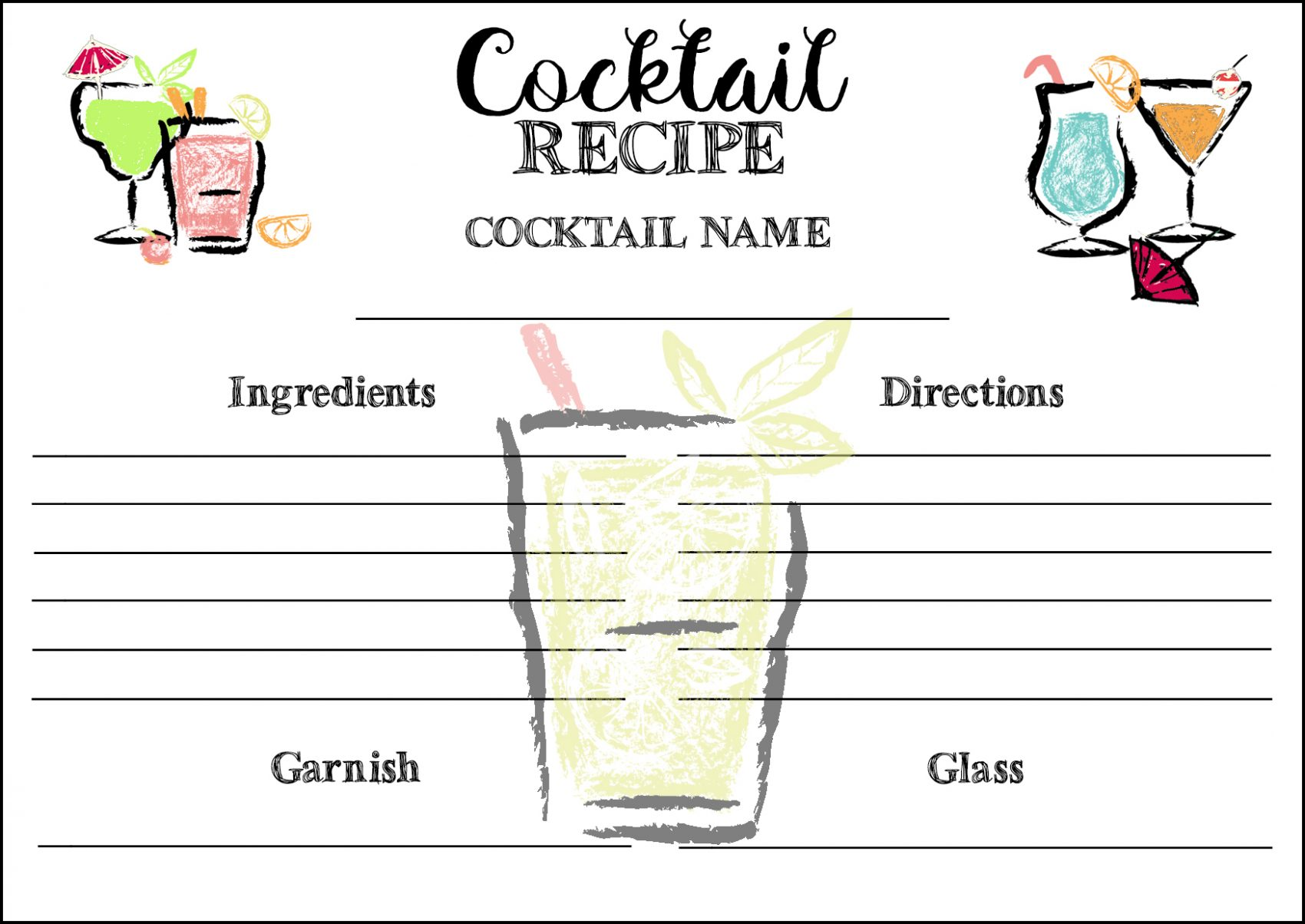 FREE PRINTABLE COCKTAIL RECIPE CARD.