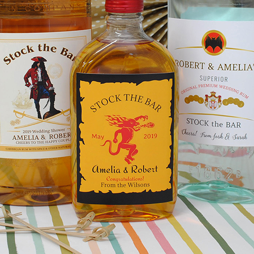 Custom liquor labels with the name of the bride and groom. Make and order these online