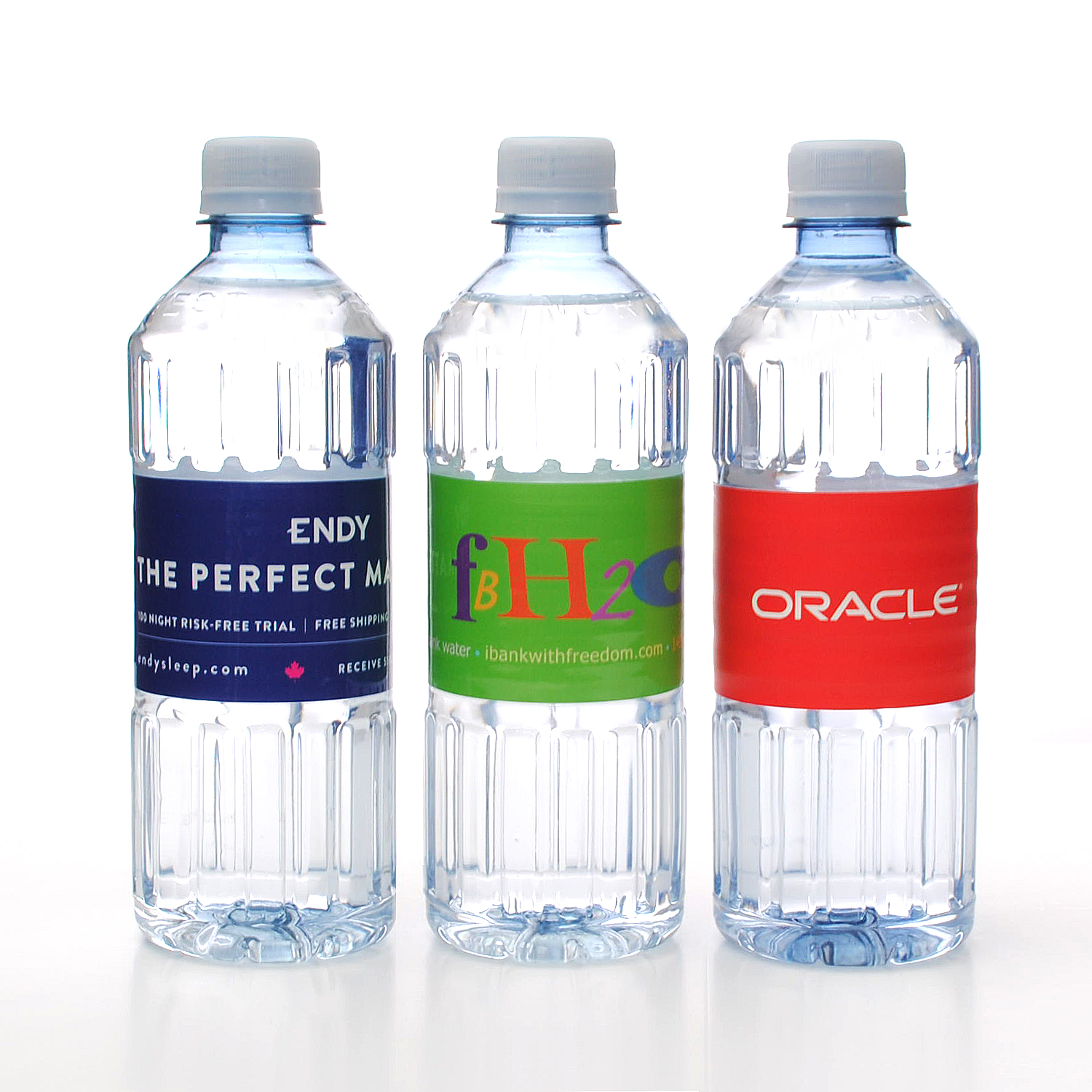 Private label bottled water made from recycled #1 rPET plastic using reduced energy practices.