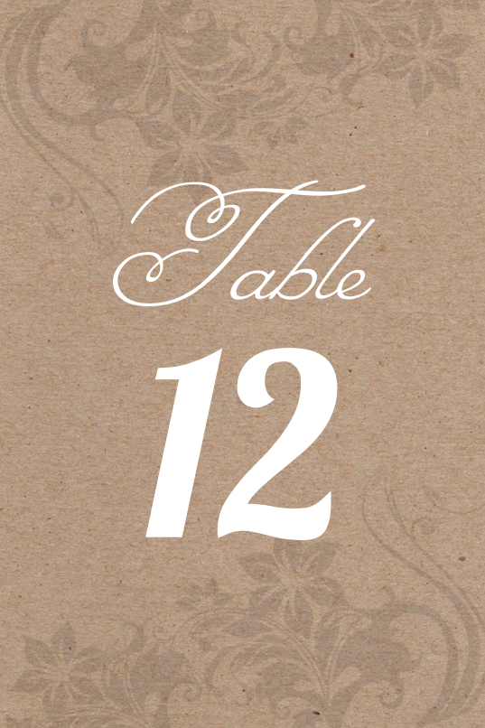 Kraft Paper Table Number
