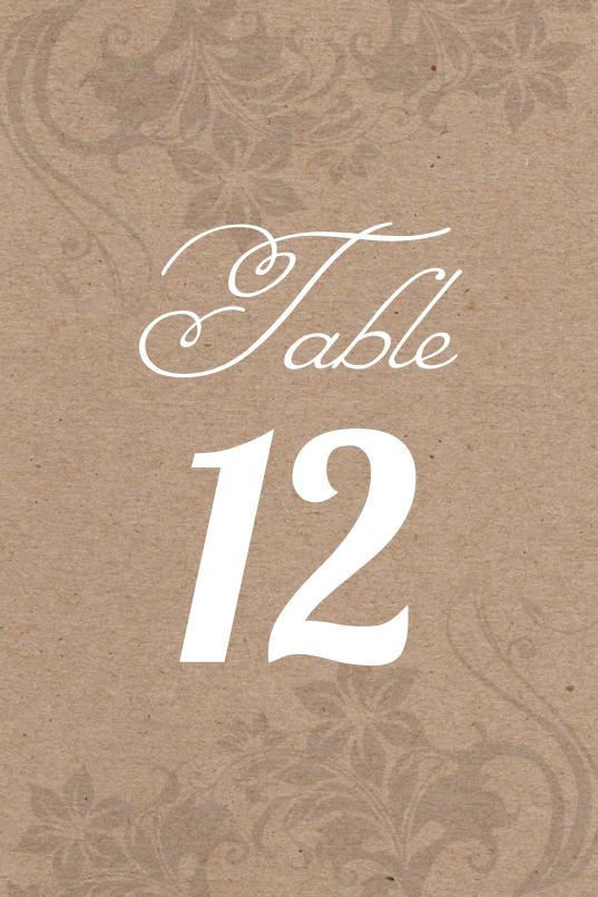 Kraft Paper Table Number