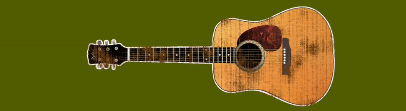 Acoustic Guitar Horizontal Distressed