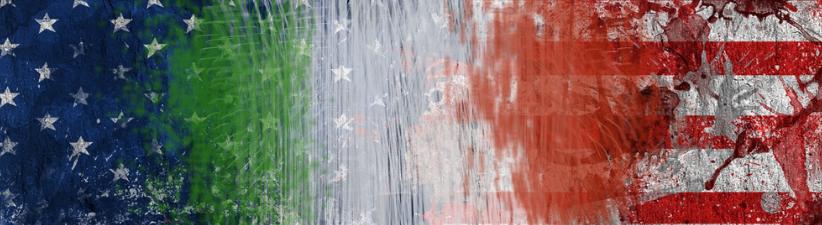 Crackle Paint Italian American Flag