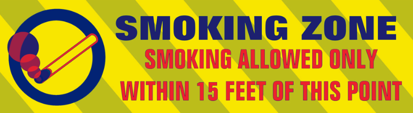 Smoking Zone Allowed Within 15 Feet Warning Sign