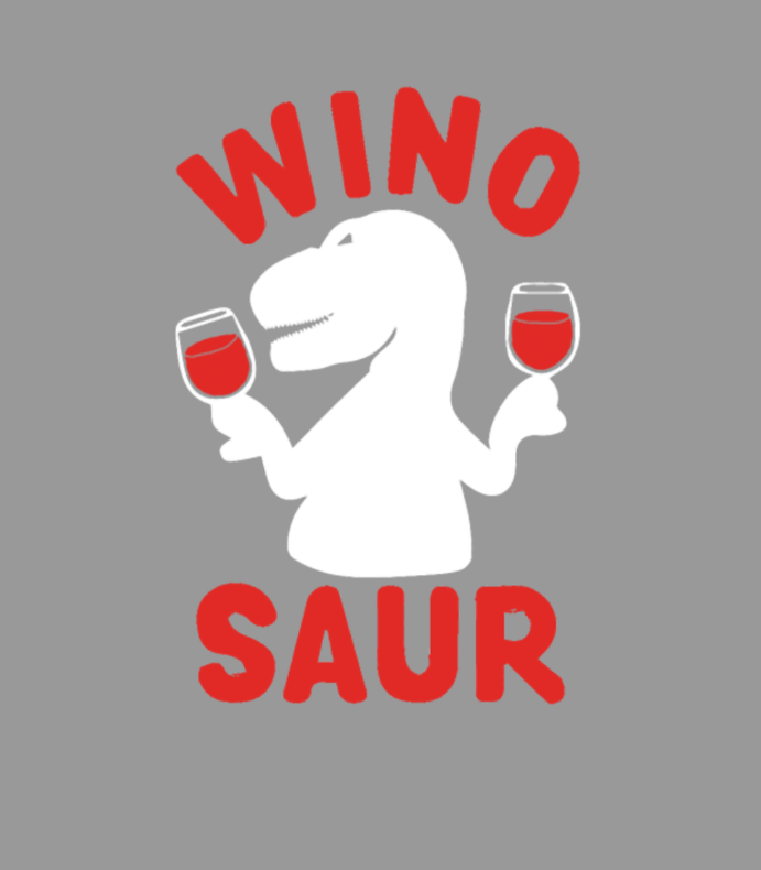 Dinosaur Drinking Wine