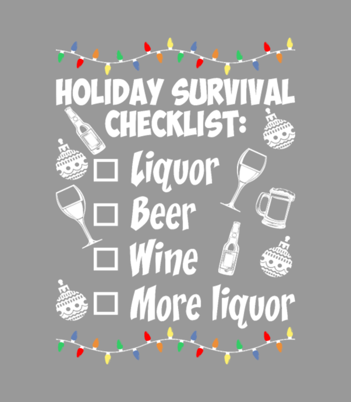 Holiday Survival Checklist Beer Wine Christmas