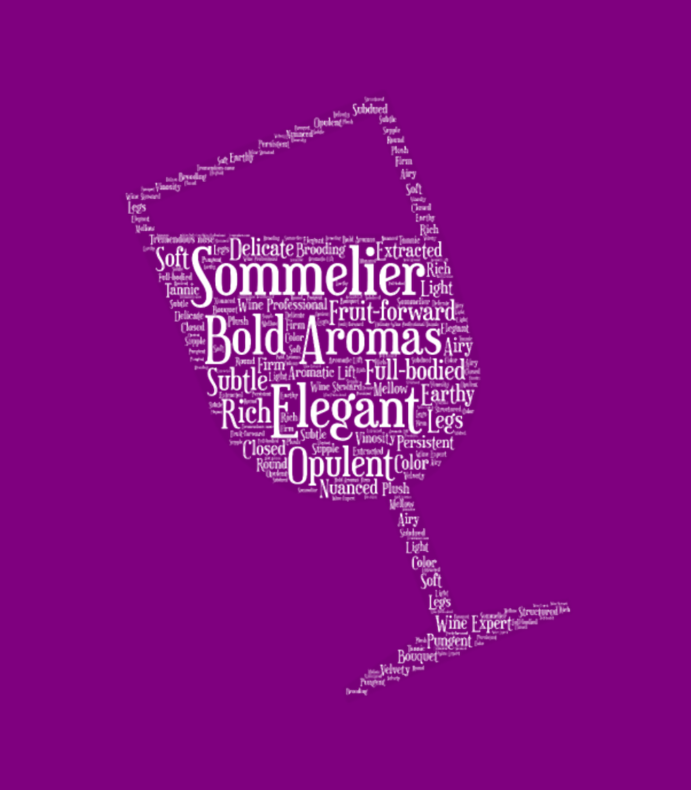 Sommelier Tilted Wine Glass Word Cloud White