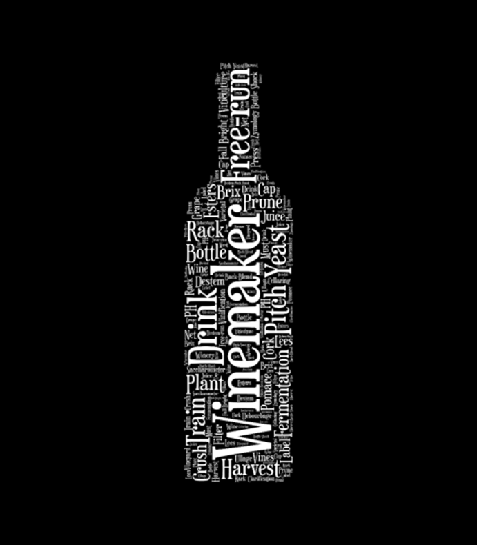 Winemaker Wine Bottle Word Cloud White